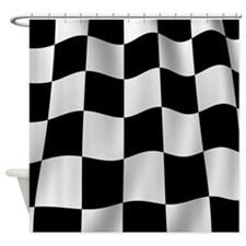 Black Racing Flag Checkerboard Shower Curtain