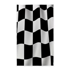 Black Racing Flag Checkerboard 3'x5' Area Rug