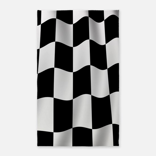 Black Racing Flag Checkerboard 3'x5' Area Rug