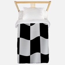 Black Racing Flag Checkerboard Twin Duvet