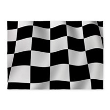 Black Racing Flag Checkerboard 5'x7'Area Rug