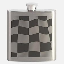 Black Racing Flag Checkerboard Flask