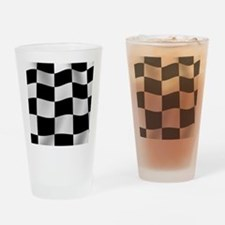 Black Racing Flag Checkerboard Drinking Glass