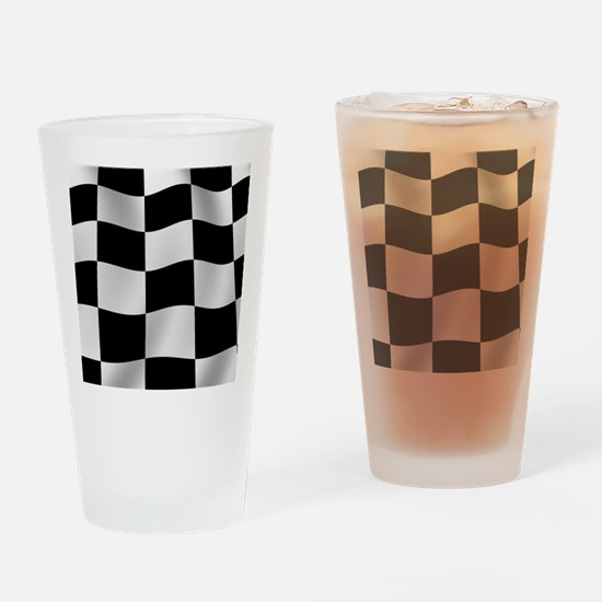 Black Racing Flag Checkerboard Drinking Glass
