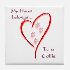 Collie Heart Belongs Tile Coaster