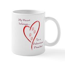 Doberman Heart Belongs Small Mug