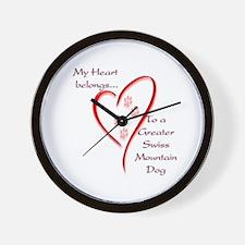 Swissy Heart Belongs Wall Clock