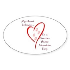 Swissy Heart Belongs Oval Decal