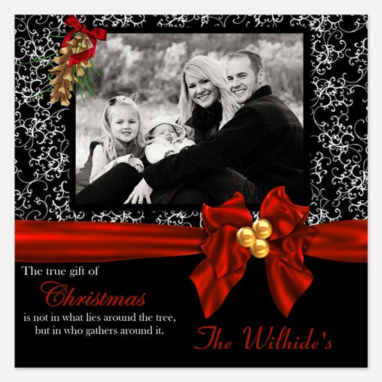 Christmas Red Black Scroll Invitations