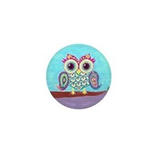 Eastern Owl on branch Mini Button