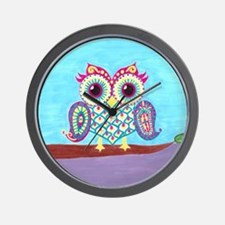 Eastern Owl on branch Wall Clock