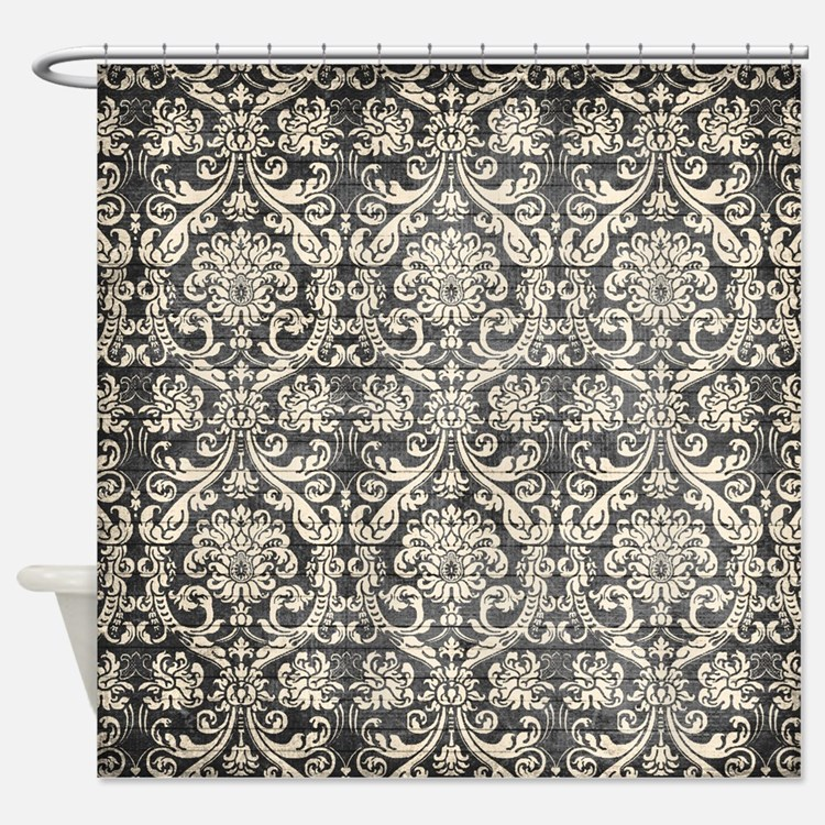Black And White Damask Shower Curtain white and yellow damask shower curtains | white and yellow damask