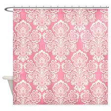 Trendy Vintage Pink Damask Shower Curtain