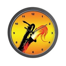 Hot Baritone Sax Wall Clock