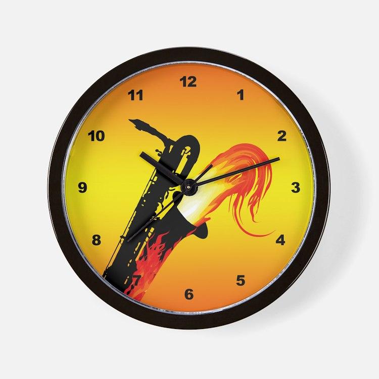 Hot Baritone Sax Wall Clock