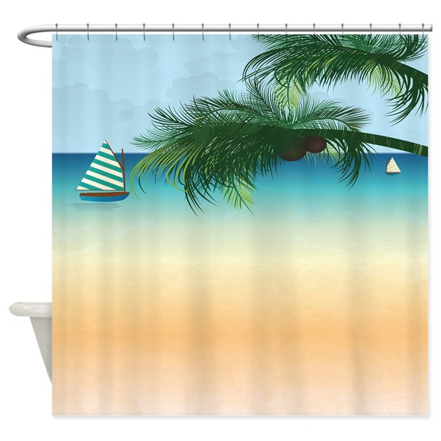 Tropical Palm Tree Sailboat Ocean Shower Curtain By Yourperfecthome