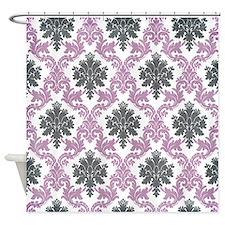Vintage Purple and Charcoal damask pattern Shower