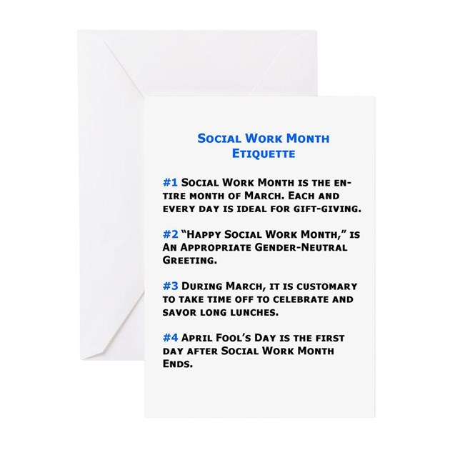 Social Work Etiquette Greeting Cards (Pk Of 10 By Swgifts