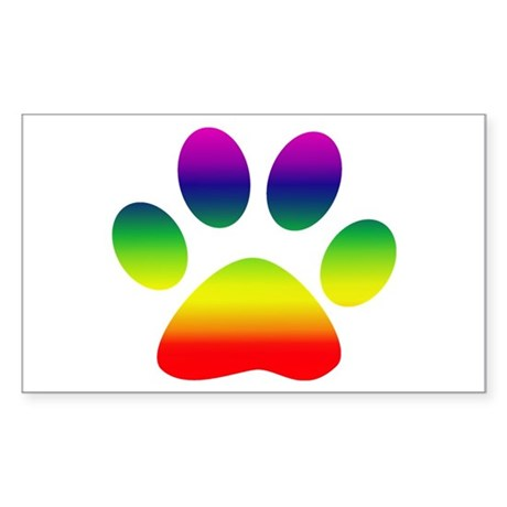 Paw Rectangle Sticker