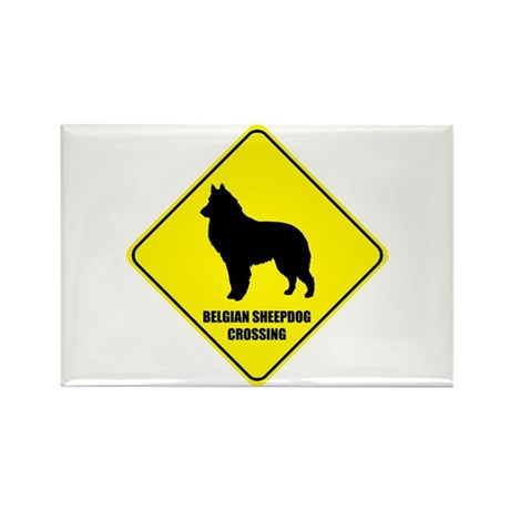 Sheepdog Crossing Rectangle Magnet (10 pack)