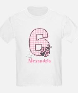 Personalized Pink Ladybug 6th Birthday T-Shirt
