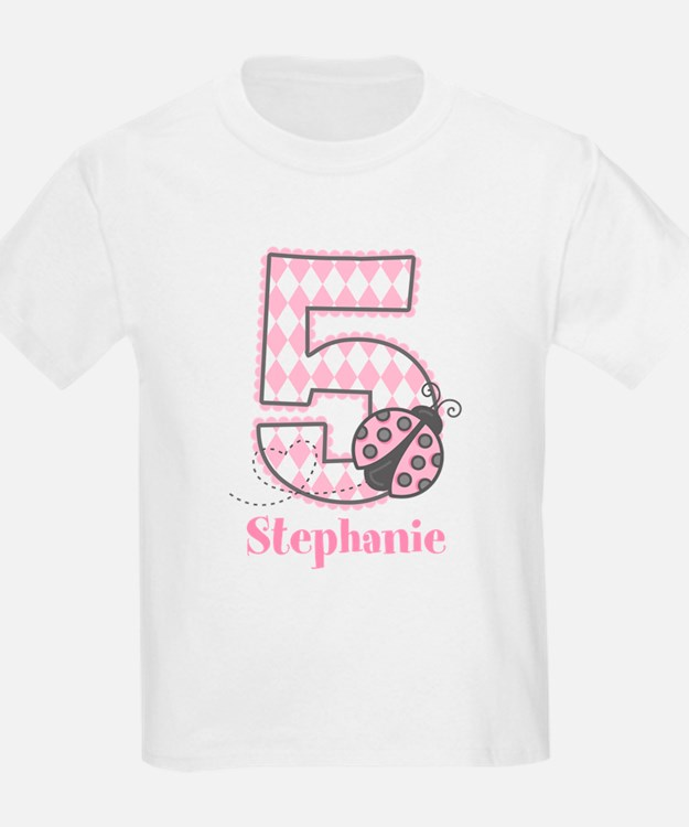 Personalized Pink Ladybug 5th Birthday T-Shirt