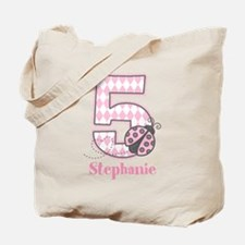 Personalized Pink Ladybug 5th Birthday Tote Bag