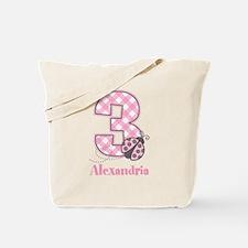 Personalized Pink Ladybug 3rd Birthday Tote Bag