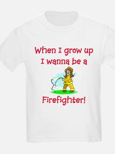 I Wanna Be A Firefighter Kids T-Shirt