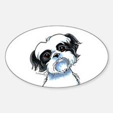 B/W Shih Tzu Art Sticker (Oval)