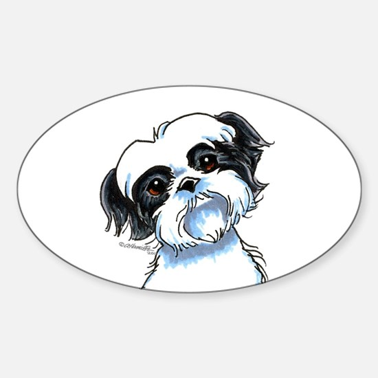B/W Shih Tzu Art Sticker (Oval)