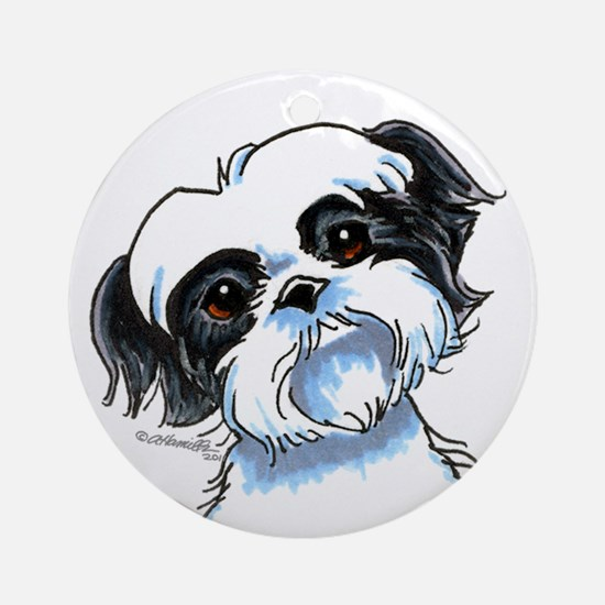 B/W Shih Tzu Art Ornament (Round)