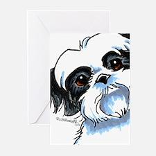 B/W Shih Tzu Art Greeting Cards (Pk of 10)
