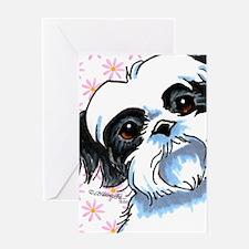 B/W Shih Tzu Flowers Greeting Card