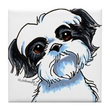 B/W Shih Tzu Art Tile Coaster