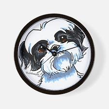 B/W Shih Tzu Art Wall Clock