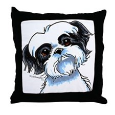 B/W Shih Tzu Art Throw Pillow