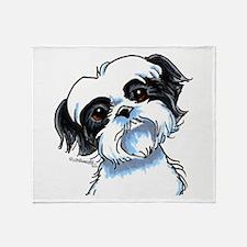 B/W Shih Tzu Art Throw Blanket
