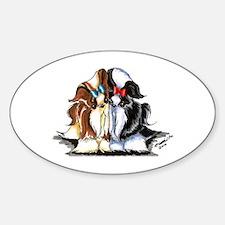 Two Shih Tzu Sticker (Oval)
