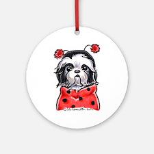 Shih Tzu Ladybug Ornament (Round)