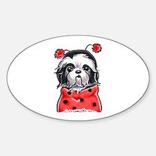 Shih Tzu Ladybug Sticker (Oval)