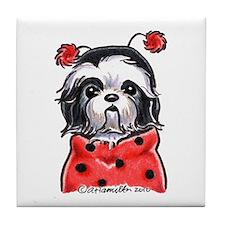 Shih Tzu Ladybug Tile Coaster