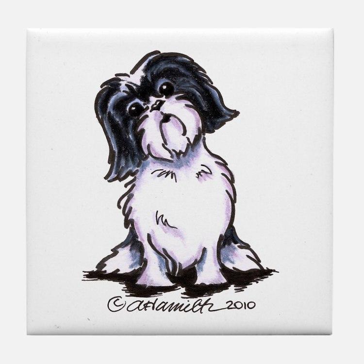 Shih Tzu Sit Pretty Tile Coaster