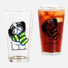 Shih Tzu B/W Scarf Drinking Glass