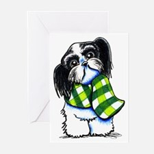 Shih Tzu B/W Scarf Greeting Cards (Pk of 20)