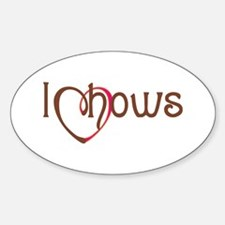 I Heart Chows Oval Decal