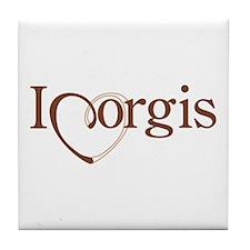 I Heart Corgis Tile Coaster