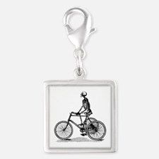 Skeleton on Bicycle Silver Square Charm