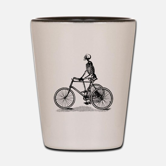 Skeleton on Bicycle Shot Glass
