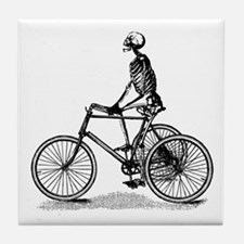 Skeleton on Bicycle Tile Coaster